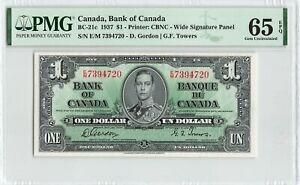 CANADA $1 Dollar 1937, BC-21c Gordon Towers, PMG 65 EPQ Gem UNC, Nice Grade KGVI