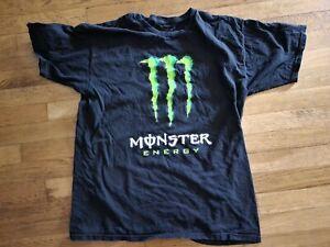 Monster Energy Drink Logo Black T-Shirt tee shirt sz Large L preowned Black L $$