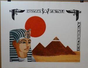 "O'Brian, ""The Boy King"" circa1970s, Print of Egyptian Pharaoh, 37"" x 28"""