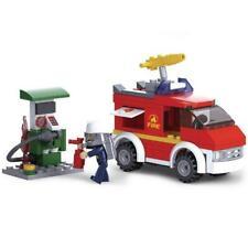 New Sluban Kids Fire Truck and Gas Station Building Blocks 136 Pcs Building Toy