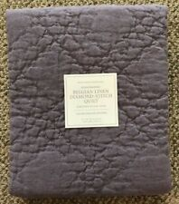 Restoration Hardware Belgian Linen Diamond Stitch Quilt Euro Pillow Sham Orchid