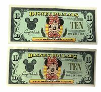 2 Minnie Mouse A Series DISNEY Ten DOLLARS Bill $ 10 A00226009A & A00226010A LOT