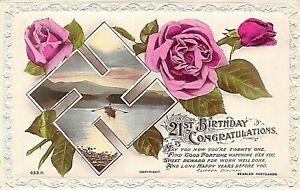POSTCARD GREETINGS - 21 ST BIRTHDAY - SWASTIKA - GOOD LUCK - ROSES - SCENE