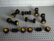 LEGO VINTAGE - 8 PIECES (6157) PLATE HOLDER &16 WHEELS (6015) TYRES HUBS YELLOW