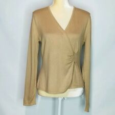 Talbots Sweater Women MP Silk Cashmere Blend Wrap  Camel Tan