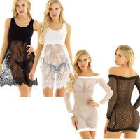 Women's Fishnet Lace Beach Vest Short Mini Dress Bodycon Tank Sundress Clubwear