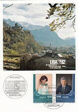 Liechtenstein, Erinnerungskarte zur LIBA 82, MiNr. 797/8, gestempelt
