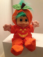Halloween Troll Green Hair Jack O Latern Jumpsuit Orange Costume Vintage Russ