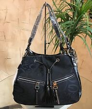 Designer Inspired New Fashion Faux Leather And Denim Handbag Size Large Black