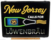 "Vintage BEER SIGN Light-Up ""NEW JERSEY Calls For LOWENBRAU"" Man-Cave BAR DECOR"