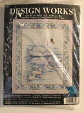 Design Works SWANS cross stitch kit Mother & Baby Swans on Lake