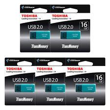 WOW 5 PACK 16GB Toshiba TransMemory USB 2.0 Memory Stick Flash Drive AQUA NEW