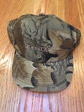 K PRODUCTS Vtg 80s John Deere Logo Snapback Hat Cap Camo Hunting Distressed
