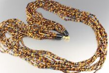 VINTAGE 60'S MULTI 12 STRAND LONG BLACK & BROWN GLASS BEAD NECKLACE