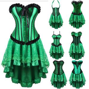 Halloween Costume Burlesque Corset Skirt Cincher Bustier Waist TrainerGreen 6-24