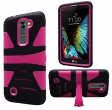 LG K10 Premier LTE L62VL Rugged Phone Case - Black/Pink