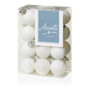 White Collection Christmas Decorations 24x 30mm White Multi finish Baubles