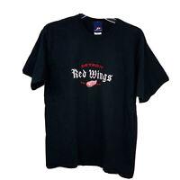 Vintage Pro Player Detroit Red Wings Mens Large Black T Shirt Old English Font