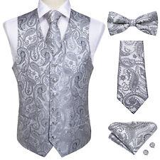 Mens Paisley Waistcoat Suit Vest Necktie Bowtie Tie Ring Hanky Cufflinks Set