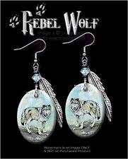 Rebel Wolf Earrings - Western Wildlife Art Wolves Wild Nature - Free Ship #Hk*