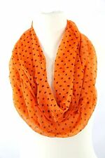 B130 Eternity Ruffle Wavy Sheer Bright Orange Black Polka Dot Infinity Scarf