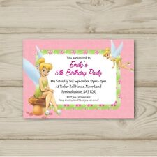 Disney Tinkerbell Birthday Party Invitations Personalised