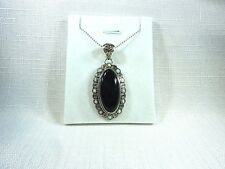 Genuine Black Onyx & Created Fire Opal 925 Sterling Silver Necklace