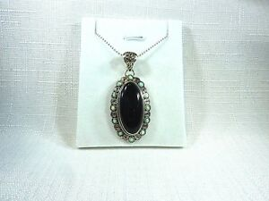 Natural Black Onyx & Created Fire Opal 925 Sterling Silver Necklace