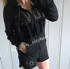 Victoria Secret Love Pink 86 Patch Floral Black Full Zip Hoodie Shorts Set L XL
