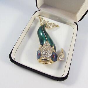Vintage Sphinx Style Goldtone Metal & Enamel& Rhinestone Fish Brooch Pin
