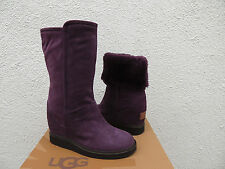 UGG COLLECTION GISELLA AUBERGINE HIDDEN WEDGE SHEARLING BOOTS, US 6/ EUR 37 ~NIB
