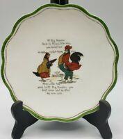 "Antique Semi Porcelain Smith Phillips 7"" Plate Mr Big Rooster & Miss Little Hen"