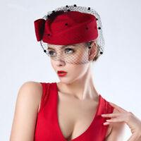 Rot Veil Frauen Fascinator Pillbox Filz Wolle Rennen Hut formelle Kleidung T166