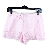 Ralph Lauren Kids Girls 100% Cotton Pink Eyelet Hem Lined Shorts Size 14