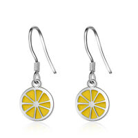 Women Summer Exquisite 925 Sterling Silver Sweet Yellow Lemon Ear Drop Earrings