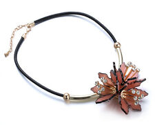 AMAZING PINK FLOWER CHOKER PENDANT NECKLACE ON LEATHER CORD GREAT XMAS GIFT