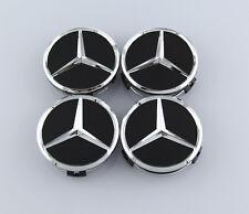 4Pcs 75mm Black Mercedes Benz Car Sticker Emblem Wheel Center Hub Cap Cover