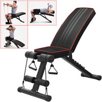 Adjustable Sit Up AB Incline Abs Bench Flat Fly Weight Press Gym W/ Fitness Rope