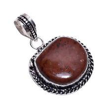 PLATA DE LEY Capa hecho a mano MARCONI Obsidiano Colgante nlg-453 chapado en