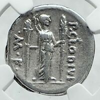 Roman Republic Ancient 42BC Silver Coin APOLLO & DIANA LUCIFERA TORCH NGC i78642