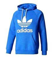 Adidas Originals Men's Trefoil Fleece HOODIE Sweatshirt Jumper Royal Blue White