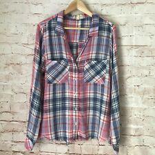 Women's CLOTH & STONE Raw Hem Button Down Plaid Shirt Top Size Medium M Rayon