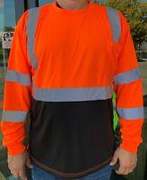 Orange High Visibility Long Sleeve Safety Shirt Reflective / Black Bottom