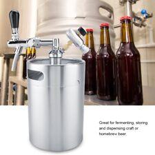 5L Edelstahl Faß Fass Bier Growler Keg mit Wasserhahn Home brauen Mini Bierfass