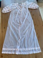Peach Ladies Sz Medium Approx Long Sheer Lingerie Robe Vintage Lace Trim