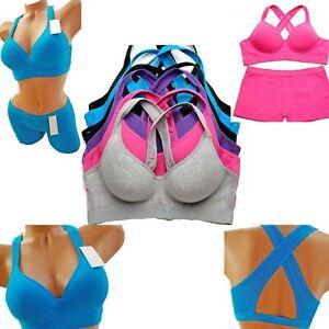 Mix & Match Women's Padded Sports Bra Sets Medium Support Fitness Workout Gym