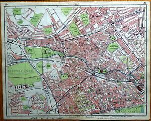 NOTTING HILL,PADDINGTON, BAYSWATER Original London Street Plan Antique Map 1925