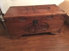 "31""  Long Hand Carved Solid Teak Trunk - Indonesian"