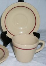 Shenango Incaware Restaurant Grade Tan and Red Coffee Cup & Saucer Set