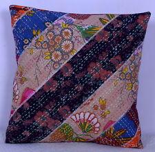 "Indian Cotton Kantha Floral Patchwork Pillow Case Sofa Decor 16"" Cushion Cover"